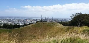View of Auckland City from the summit of Mt Eden
