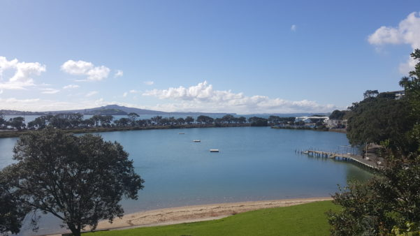 View of Judges Bay, North Head and Rangitoto from Parnell Rose Gardens