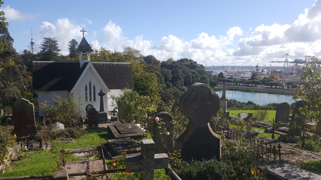 Historic St Stephens Church, Graveyard and Auckland Views