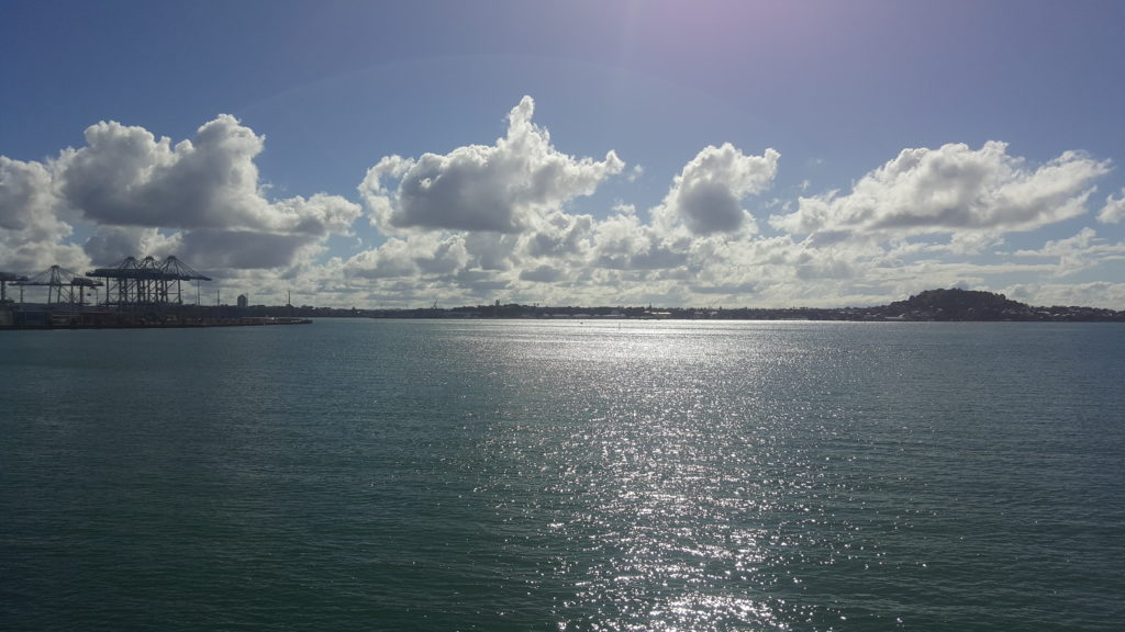 View of the sparkling Waitamata Harbour from Parnell Baths Bridge