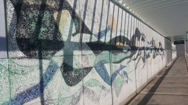 Parnell Swimming Baths cut glass wall picture