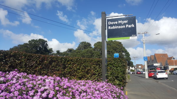 Dove Meyer Robinson Park Sign in Parnell Rose Garden