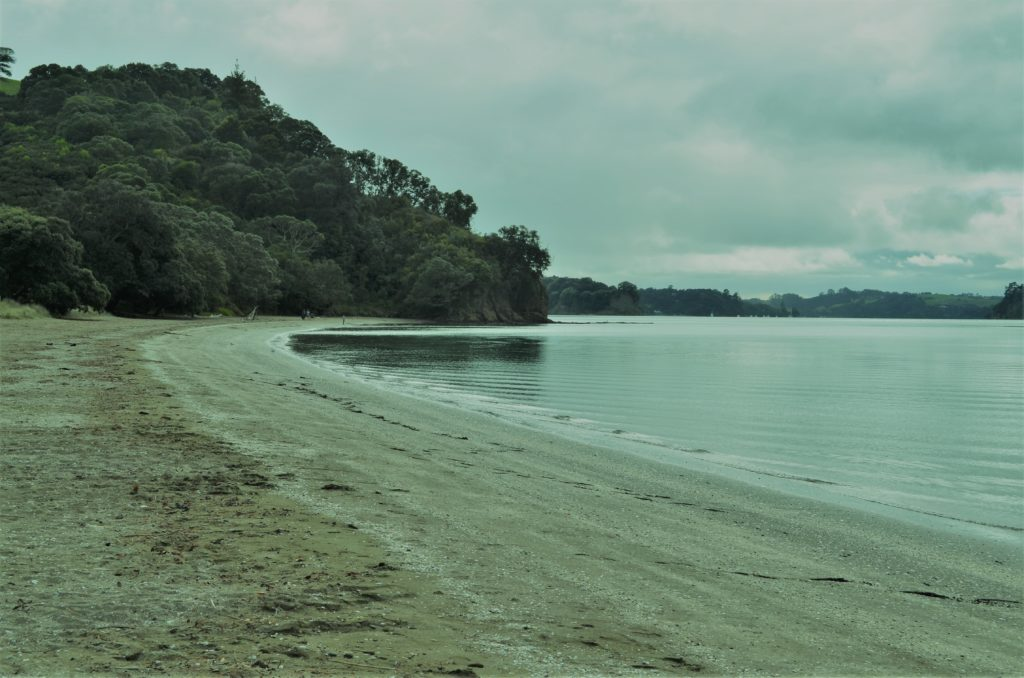 Sullivans Beach Mahurangi Regional Park on an overcast day