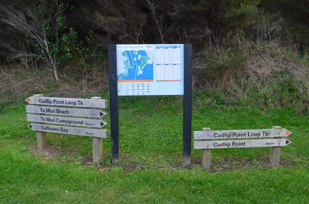 Cudlip Point Track Signs in Mahurangi Regional Park