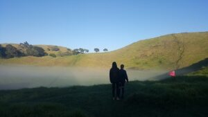Fog in the crater of Mangere Mountain