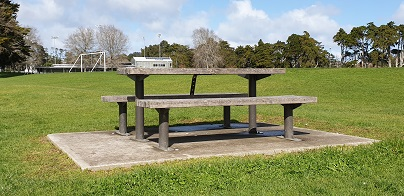 Rosedale Park picnic table by Albany United Football Club fields