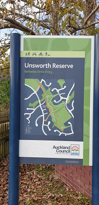 Unsworth Reserve Map sign