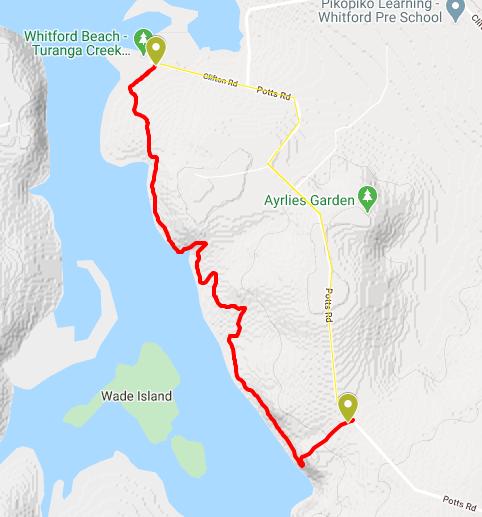 Google Map of Whitford Beach Turanga Creek Walkway Map